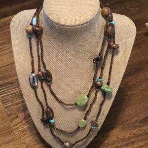 Vintage Sterling Silver/ Natural Stone Necklace